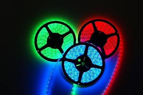 elumico® LED Strip/ flexible Streifen/ Lichtband, trennbar, RGB (mit RGB+ Stecker), 5m Rolle, 10.8W/m IP20, 60LED´s/m, Abstrahlwinkel: 120°, Lm: 960Lm, 12V (DC), 3M Klebeband, Eingang: +GRB, CE/ RoHs, 2 Jahre