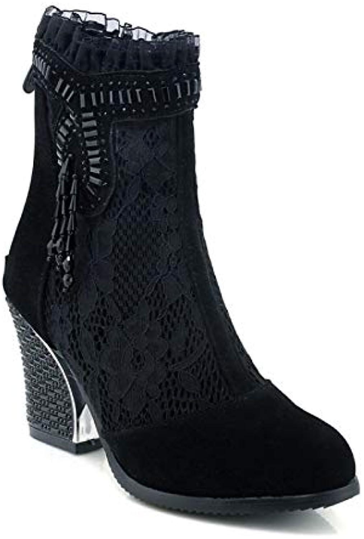 ZHZNVX Tessuto Elasticizzato da Donna Autunno Inverno Stivali Stivali Stivali Comfort Chunky Heel Nero, Nero, US5.5   EU36   UK3.5... | Molte varietà  293471