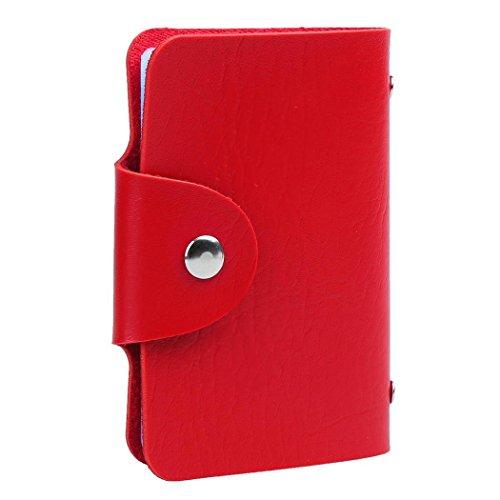 vobome ID Kreditkarteninhaber Geldbörse, 1 PC Unisex PU Leder 24 Karten Slots Männer Frauen Geldbörse Brieftasche Pocket Case ID Kreditkarteninhaber (Rot)