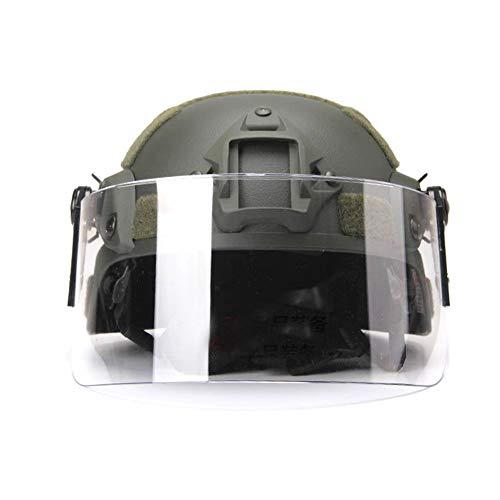WTZWY MICH 2000 taktischer Helm mit klarem Visier NVG Mount und Seitenschiene - CS Airsoft Schutz Militär Paintball Helm Protektive Maske L grün