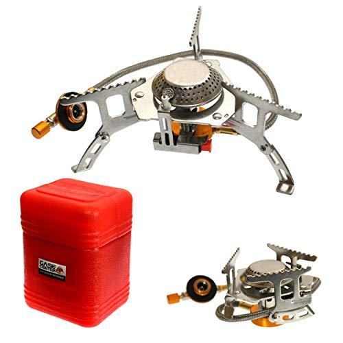 Campingkocher Propan mit Transportbox kleines Packmaß faltbar für EN417 Schraubkartusche (Kocher ohne Kartusche)