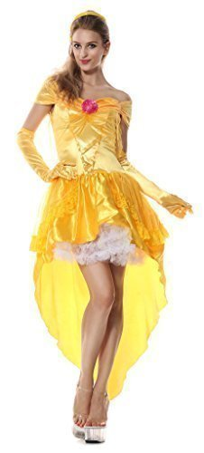 Fancy Me Damen Sexy gelbgolden Prinzessin Märchen Henne Do Halloween Party Kostüm Kleid Outfit UK 8-16 - Gelb, Gelb, 14-16 (Halloween Kostüme Uk Märchen)