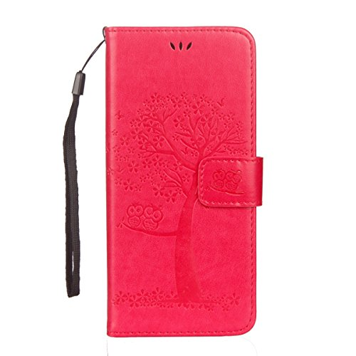 ISAKEN Compatibile con Samsung Galaxy S6 Edge Custodia Cover, Libro Flip Cover con Strap, PU Pelle Protettiva Portafoglio Case Wallet Caso con Supporto di Stand/Carte Slot/Magnetica - Gatto: Rossa