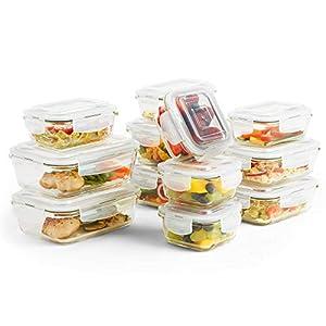 VonShef 12-teiliges Glasbehälter-Set zur Nahrungsmittelaufbewahrung mit Deckeln
