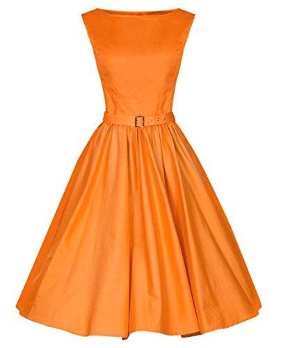 LUOUSE 'Audrey' Hepburn Stil Vintage Clarity Kleid im 50er-Jahre-Stil,Orange,M