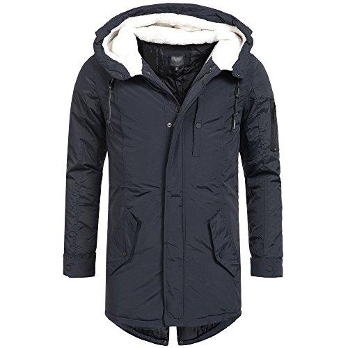 AZ-Fashion Herren Parka Mantel Jacke Winterjacke warm mit Teddyfell Kapuze S-XL AZ22, Größe:M;Farbe:Navy (Herren Mantel Jacke Winter)