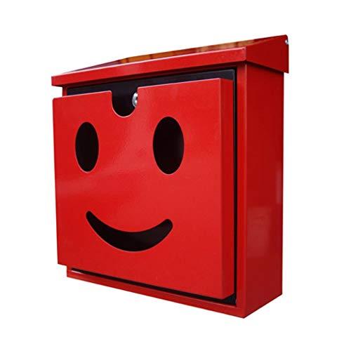 Briefkasten Straßenrand-Garten-Dekorations-Briefkasten/An Der Wand Befestigte Briefkästen for Äußeres/Wasserdichtes Galvanisiertes Blatt-Material/Rot -
