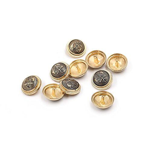 Knöpfe im Vintagestil, Ankermotiv, Metall antik, 10Stück, gold, 25 mm (Druckknöpfe Aus Metall Antik-gold)