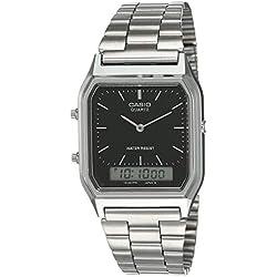 Casio Collection AQ-230A-1DMQYES, Reloj Analógico-Digital para Hombre, Negro