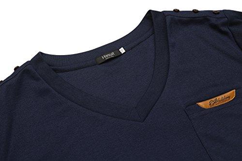 Hasuit Herren T Shirt V Ausschnitt Kurzarm für Freizeit Dunkelblau