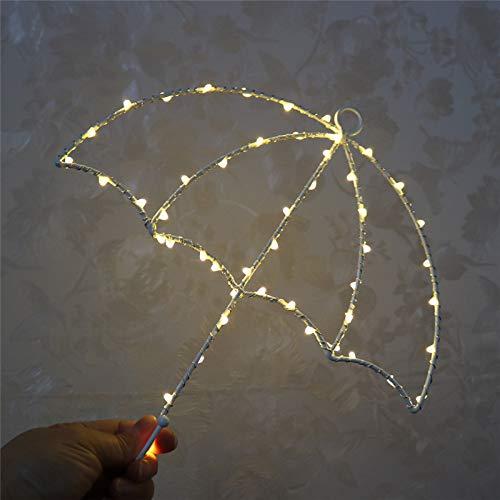 Nachtlicht Led Kinderzimmer Dekoration Schmiedeeisen Mond Sterne Kaktusform Wandbehang Rack Kleiderbügel Lampe 0.3W Regenschirm Eisenlicht (Warm White Light)