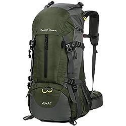Wasserdichter Rucksack mit Wanderrucksack Fassungsvermögen aus strapazierfähigem Nylon mit Regenschutzhülle. Großer Trekkingrucksack, perfekt zum Wandern, Bergsteigen, Reisen und für Sport und Camping. (45L+5L 04 Armeegrün, 45L + 5L)