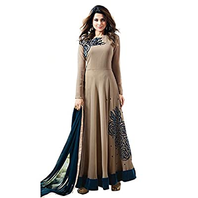 Generic Women's Georgette Semi Stitch Salwar Suit (Ethnic_ER11084_Brown_Free Size)