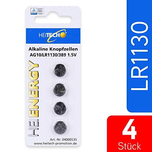 HEITECH 4er Pack AG10 Alkaline Knopfzellen Batterie TÜV geprüft 1,5V - LR54 / L1130 / LR1130 / SR54 / SR1130 / SR1130W / SR1130SW / 189/389 / 390 - Knopfbatterien mit Langer Haltbarkeit