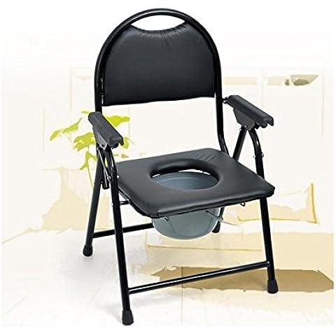 Modylee Sedie a rotelle da bagno COMODA WC Sedia comoda sedia vasino anziani sedie vasino donne incinte sedia WC WC pieghevole commode anziani