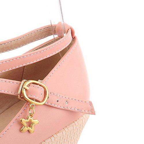 AgooLar Femme Boucle Rond à Talon Haut Pu Cuir Couleur Unie Chaussures Légeres Rose