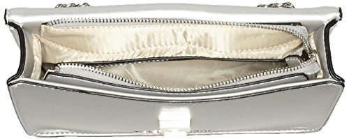 Mario Valentino Damen Peony Schultertasche, 7x18x25 cm Silber (Argento)