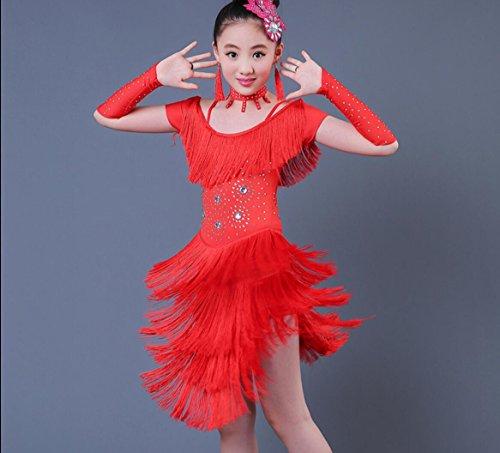 ür Kinder Kinder Latin Dance Kostüme Kinder Latin Dance Kleider zeigen Performance-Spiele, 150cm, red (Latin Dance Kostüme Kinder)