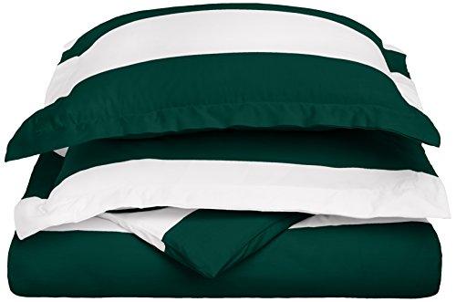 Impressions Superior - Knitterfestes Bettbezugsset für Jugendliche mit Cabana-Streifen, 229 x 234 cm, Fadenzahl 600, Baumwollmischung, jägergrün, 3-teilig. -