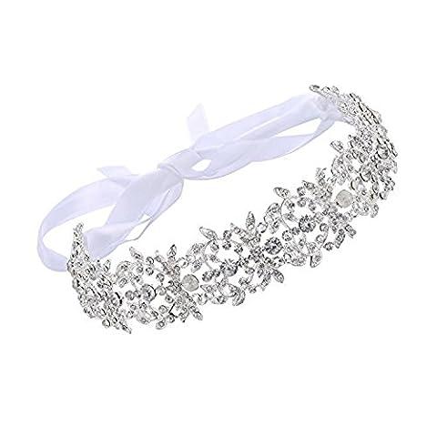 Babeyond Bridal Handmade Crystal Rhinestone Wedding Party Headband for Women Wedding Hair Accessories Bride with Austrian Crystal Pearls Floral Leaf and Lace