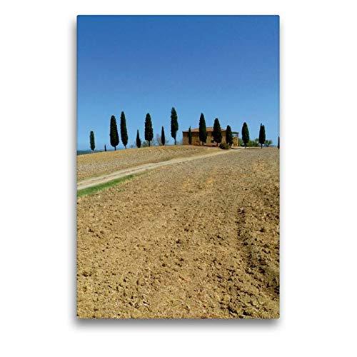 Calvendo Premium Textil-Leinwand 50 cm x 75 cm hoch, EIN Motiv aus dem Kalender Italien-das ganze Jahr | Wandbild, Bild auf Keilrahmen, Fertigbild auf echter Toskana/Pienza (I Cipressini) Orte Orte - Toskana Ferienhaus