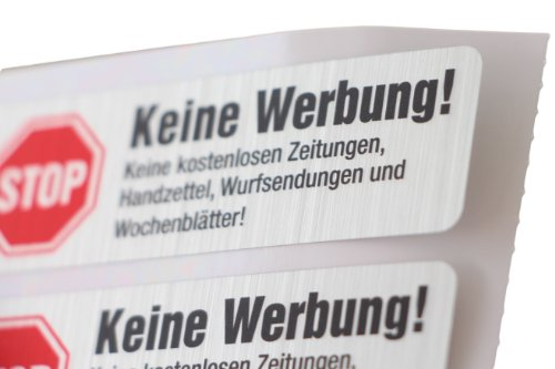 4 Keine Werbung Aufkleber in Edelstahl-Look - 4