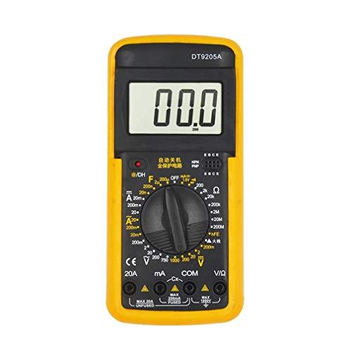 DT9205A Digitales Handmultimeter 1999 Zählt AC/DC-Spannung, Strom, Widerstand, Messgerät, Kapazitätsprüfung, Diodentester
