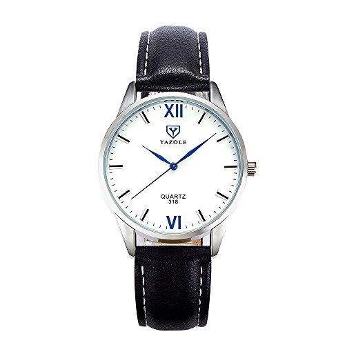 Herren Uhren, L'ananas Geschäft Wasserdicht Anolog Quarz Römische Zahlen Personalisiert PU Leder Band Armband Armbanduhren Wristwatches (Schwarz+Weiß)