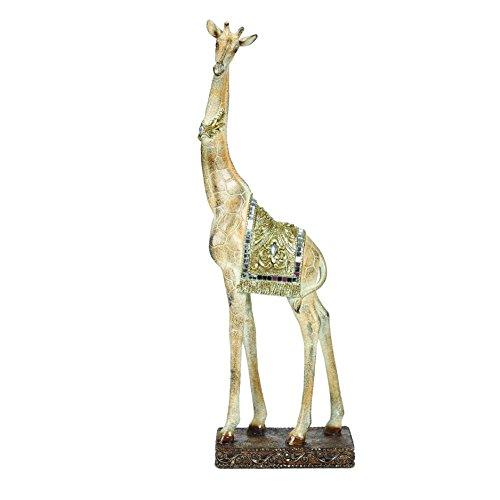 Large Brown & Gold Giraffe Standing With Mirrored Mosaic & Gems Figurine 36.5cm