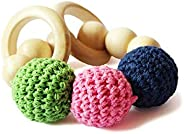 Shumee Organic Soft Crochet Beads Wooden Rattle Rings, Saliva-Proof Chew Toy & Teether for Babies - 100% Safe, Natural & Eco