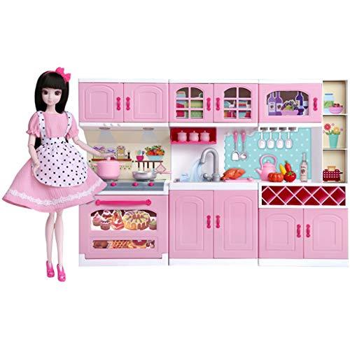 Fashion Girl Doll Set, Smart Kitchen Set Zubehör, darunter 1 Puppe, 3 Schränke, 4 Obst und Gemüse, 2 Lebensmittel, 1 Flasche Rotwein, 2 Weingläser, 2 Kleidung, 1 Paar Schuhe, 7 Küchenutensilien - idea