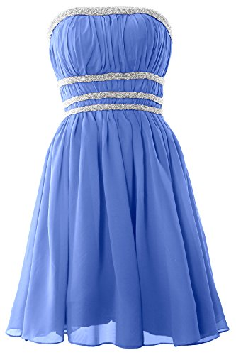 MACloth Women Strapless Chiffon Short Prom Dress Cocktail Party Formal Gown Blau
