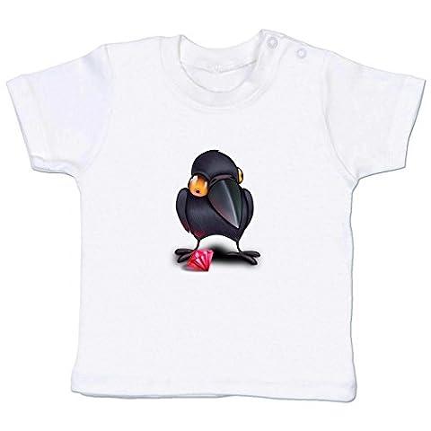 Tiermotive Baby - Krähe mit Juwel - 18-24 Monate - Weiß - BZ02 - Kurzarm Baby-Shirt für Jungen und Mädchen