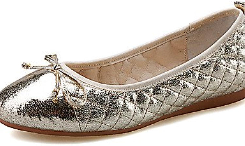 PDX/Damen Schuhe flach Absatz runde Zehen Wohnungen Outdoor/Kleid/Casual Silber/Gold