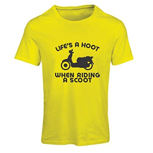 eben ist ein Lachen beim Fahren eines Rollers, Humor Slogans, Sprüche, inspirierende Zitate (XX-Large Gelb Mehrfarben) (Lego Halloween-messe)