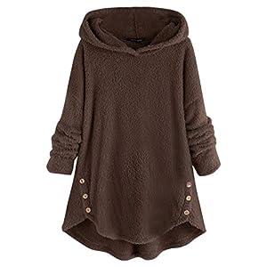 Damen Hoodie Kapuzenjacke, Frauen Mode Teddy-Fleece Einfarbig Langarm Sweatjacke Warme Fleecejacke Pullover Langarmshirt…