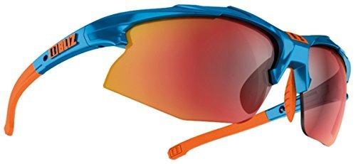 Bliz Velo XT Radfahren Laufen Mehrzweck Sport Brillen Polycarbonat-gläser Sonnenbrille - Blau/Orange (Objektiv-rauch/Rot Multi), One Size (Objektiv Blau Rauch)