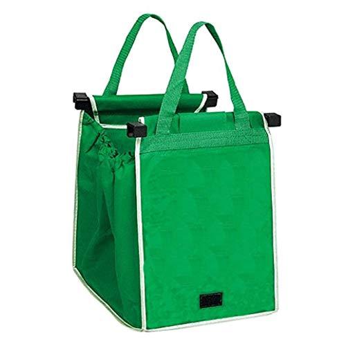 Teydhao 1 Stücke Supermarkt Warenkorb Einkaufstasche Umweltfreundlich Vlies Falten Aufbewahrungstasche Faltbare Wiederverwendbare Taschen - Grün -
