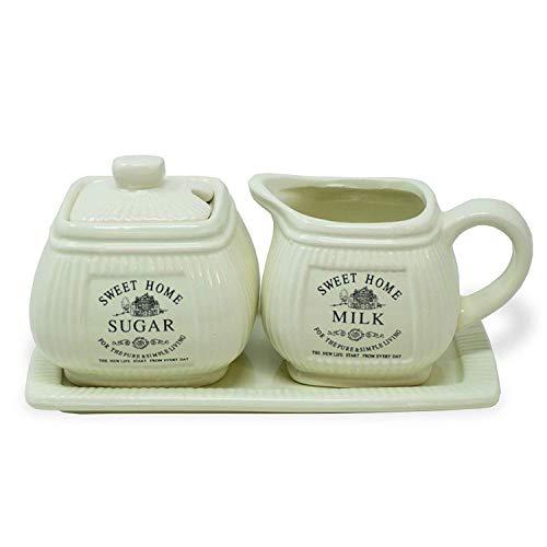 Vintage Landhaus Impressionen Milchkännchen & Zuckerdose auf Tablett*Shabby Chic