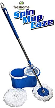 Freshome Magic Spin Mop with 1 Extra Microfiber Refill (Blue)