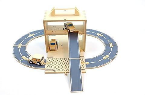 Spielkoffer Parkhaus / Holzparkhaus / Parkhaus aus Holz / aufklappbare Holzbox / 1 Jeep, 1 LKW, 1 Auto, 10 (Holzspielzeug Parkhaus)
