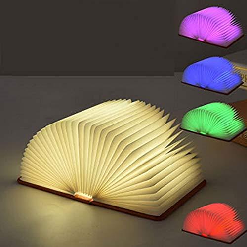 EXQUILEG Nachttischlampe,Tischleuchte,Stimmungsbeleuchtung, LED Stimmungsbeleuchtung, Faltbare Buch Lampe,Papier mit USB-Kabel,360°Faltbar,Kreatives Geschenk (Blau) -