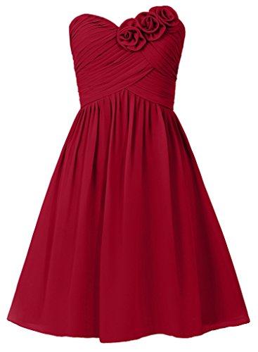 HUINI Damen Modern Kleid burgunderfarben