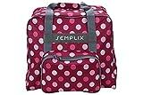SEMPLIX Overlocktasche/Coverlocktasche Polka Dots, Groß, Stabil, für Transport/Aufbewahrung Aller gängiger Maschinen, Beere/Rosa 44x38x33 cm