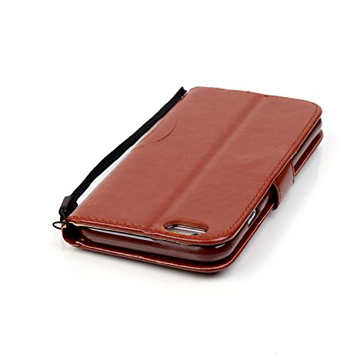 iPhone Case Cover schmetterling und blumen in einer premium - pu - ledertasche auf magnetischen flip brieftasche stehen – mit bling diamond fall stehen über rosa dekor für iphone 65 plus 5,5 ( Color : Brown
