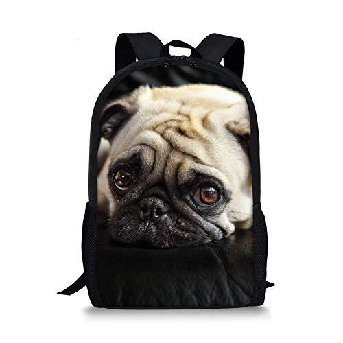 Deglogse Schulrucksack, Schultasche Travel Bookbag, Pug Dog Backpack for Teen Boys Girls Cute Lightweight School Bags Pug Dog (Boys Teen Cute)
