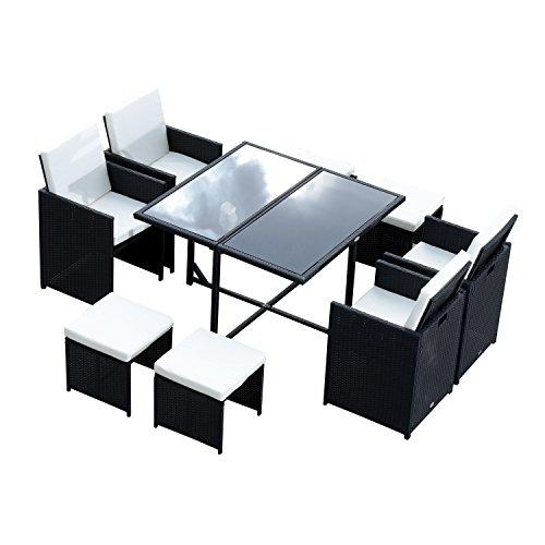 Outsunny® Polyrattan Gartenmöbel 27 tlg. Rattan Gartenset Sitzgruppe Garnitur Essgruppe inkl. Kissen (Modell 2)