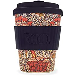 William Morris Azul Estampado ecoffee CUP ?wandle? 12oz L / 340 ml ? reutilizable Bambú Taza de café