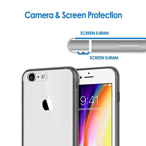 """JETech Apple iPhone 8 7 Hülle Tasche Schutzhülle Case Cover Bumper und Anti-Scratch Löschen Back für iPhone 7 iPhone 8 4.7"""" (Schwarz) Grau"""