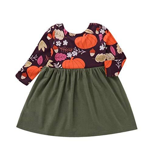 (Babykleidung,Sannysis Kleinkind Infant Baby Mädchen Kürbis Print Splice Kleid Langarm Halloween Kleid (90, Green))